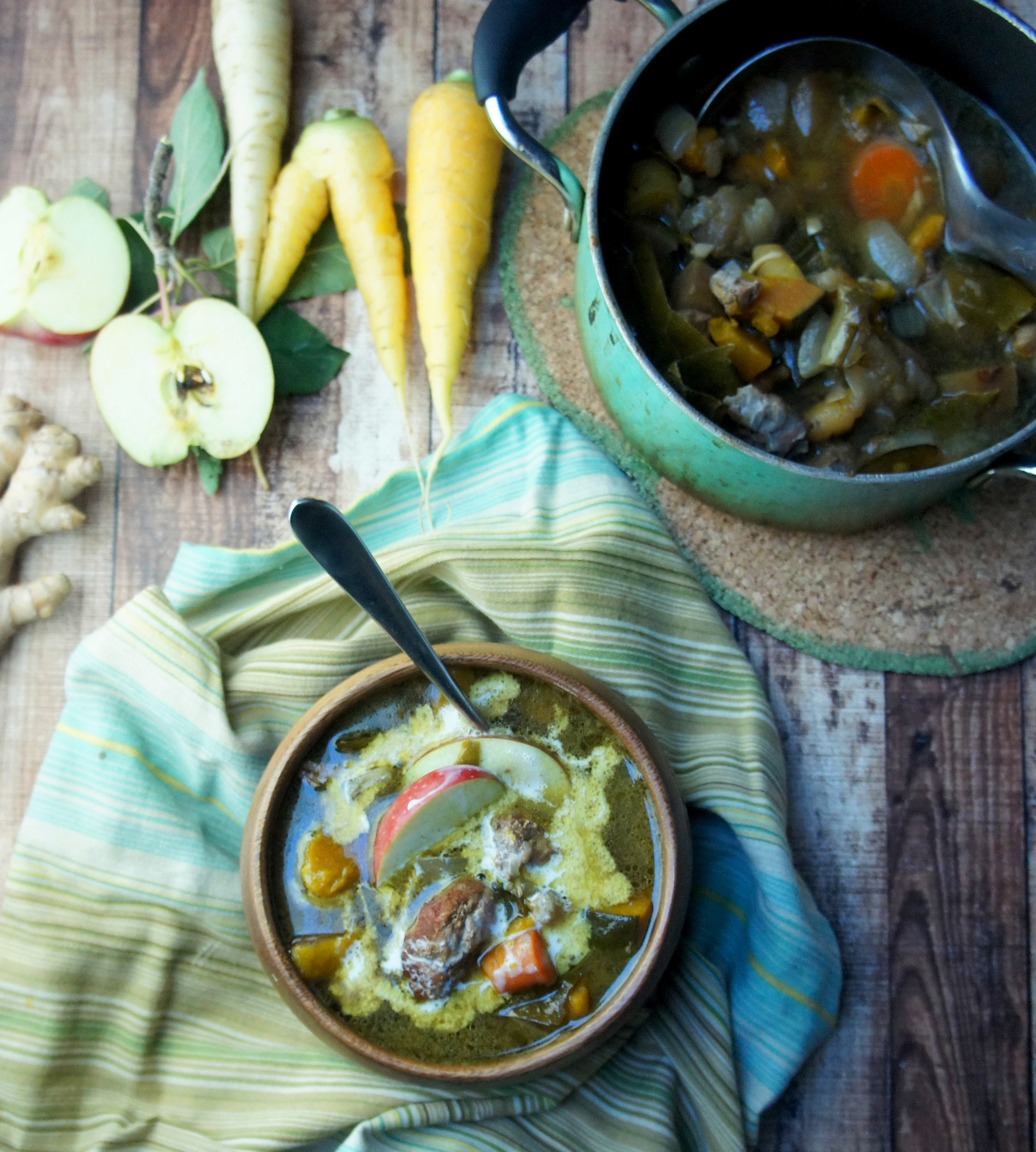 Curried Pork Shoulder with Apple and Collards - a paleo fall stew