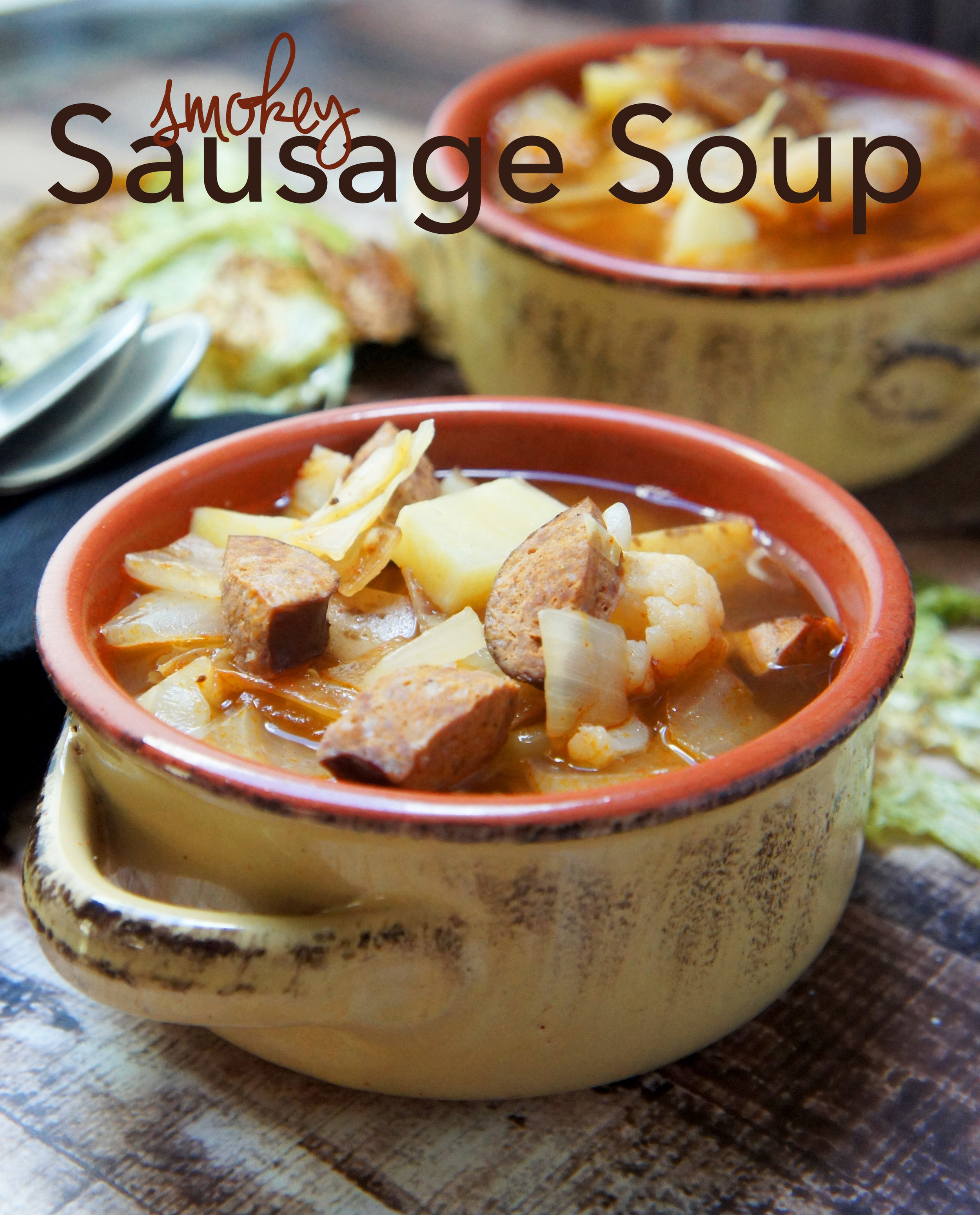 Smokey Sausage and Cabbage Soup is rich, paleo, and feeds a crowd