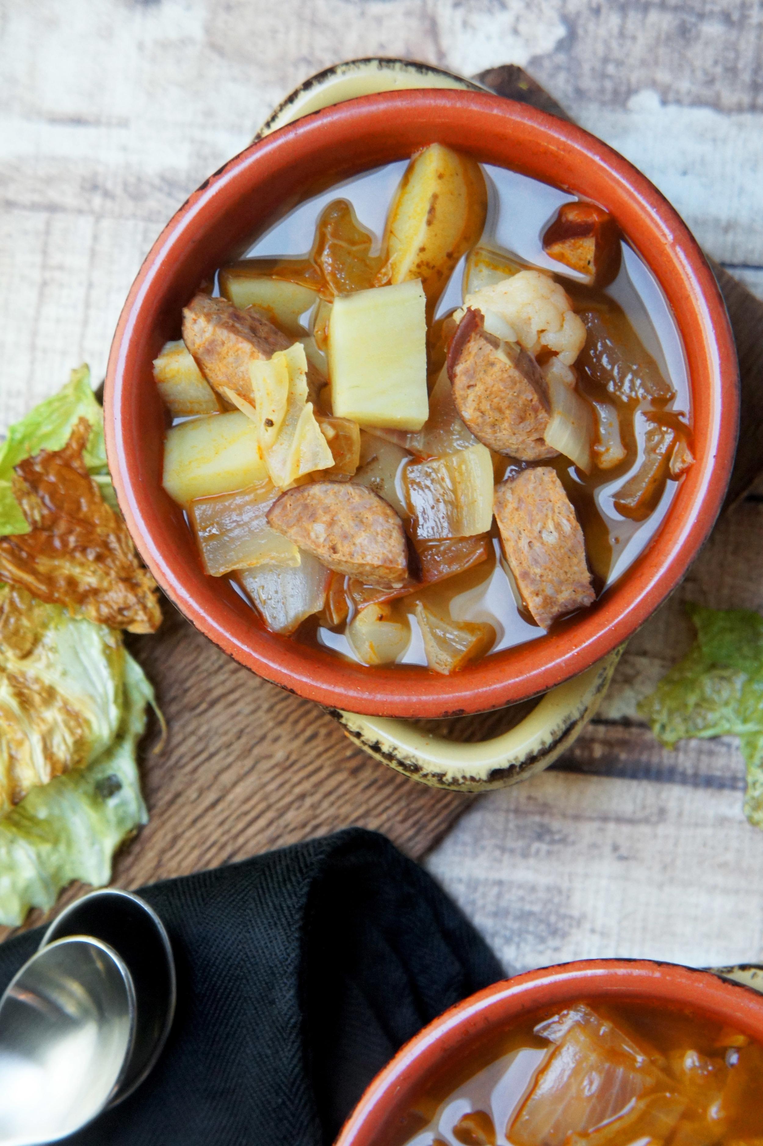 Kielbasa, Cabbage, and Sweet Potatoes in a Smokey Paprika Broth (paleo)