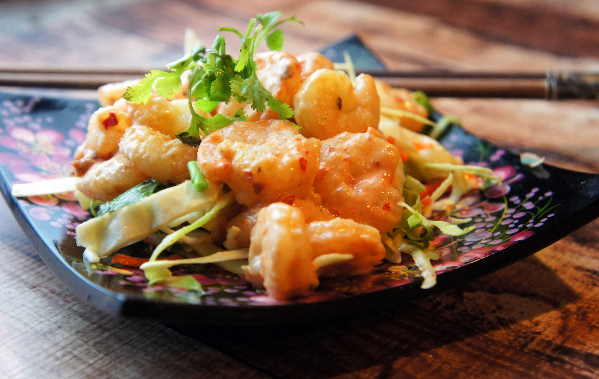 Paleo Bang Bang Shrimp over Chili-Mint Slaw