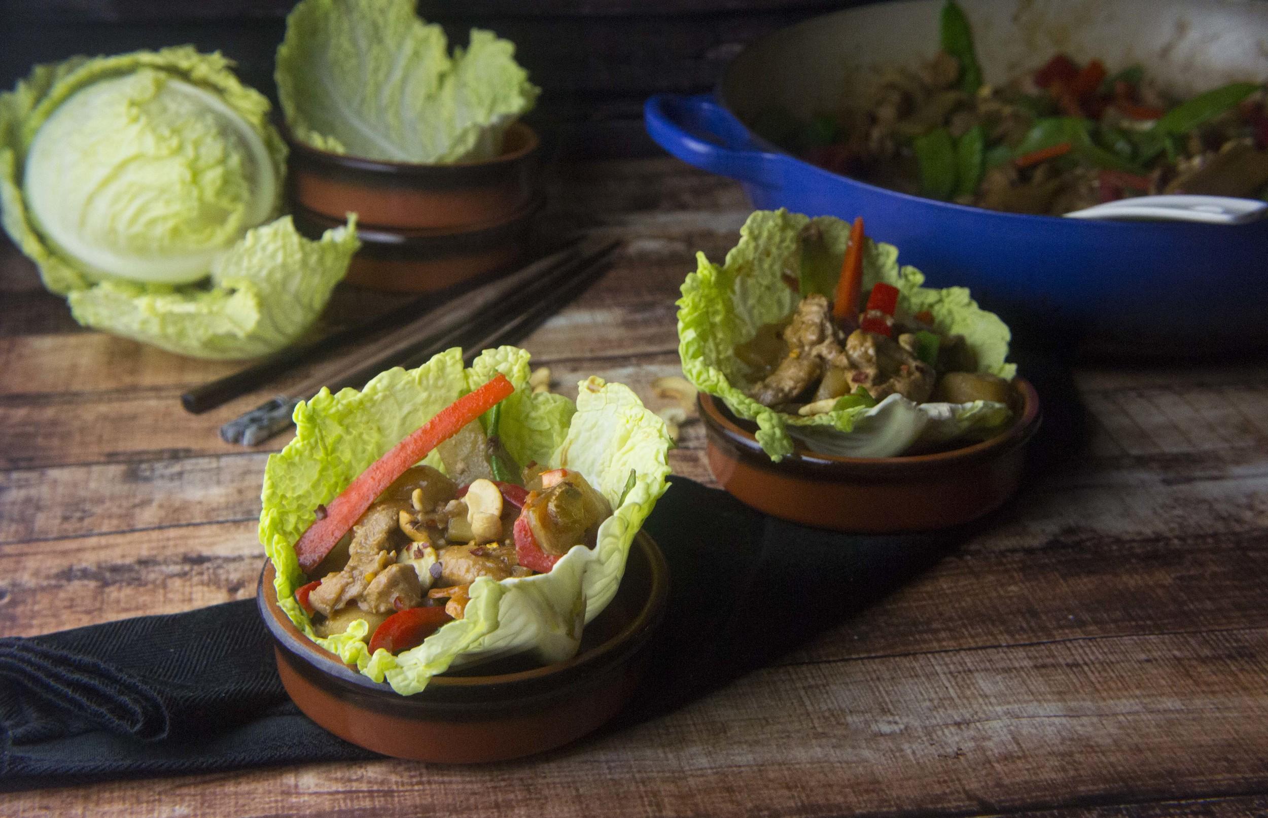 Paleo Cashew Chicken Cabbage Cups