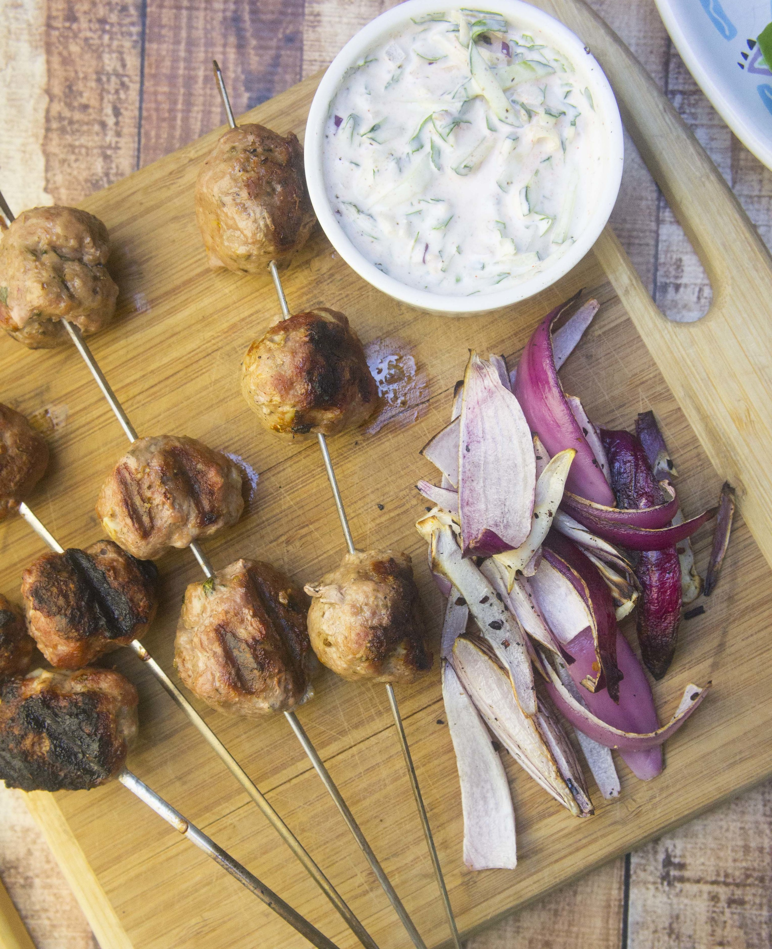 Grilled Greek Meatballs with Paleo Tzatziki Sauce