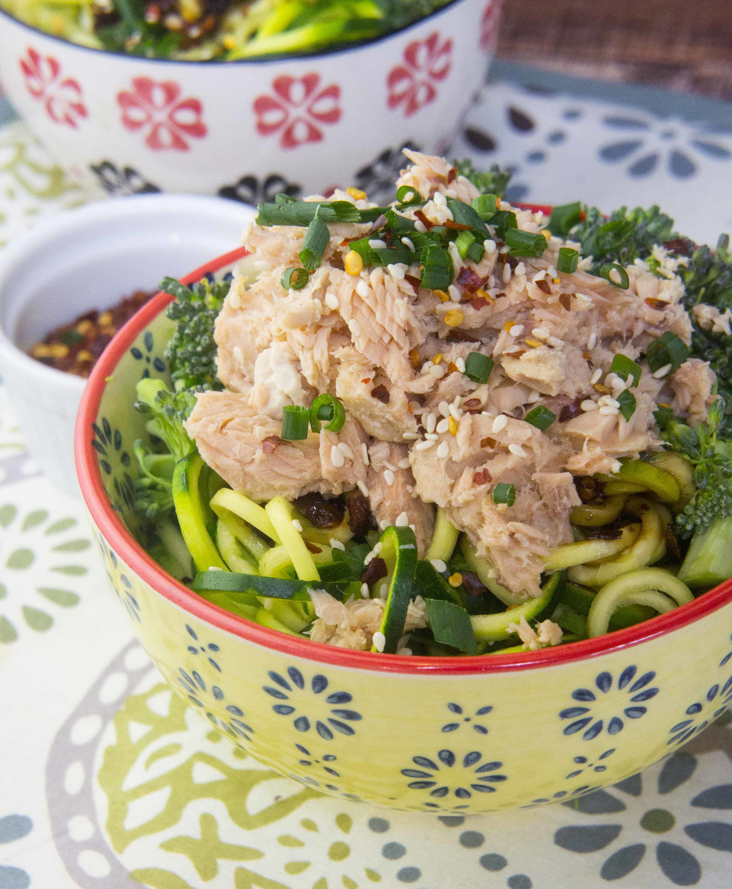 Paleo Spicy Sesame Zoodles with Salmon