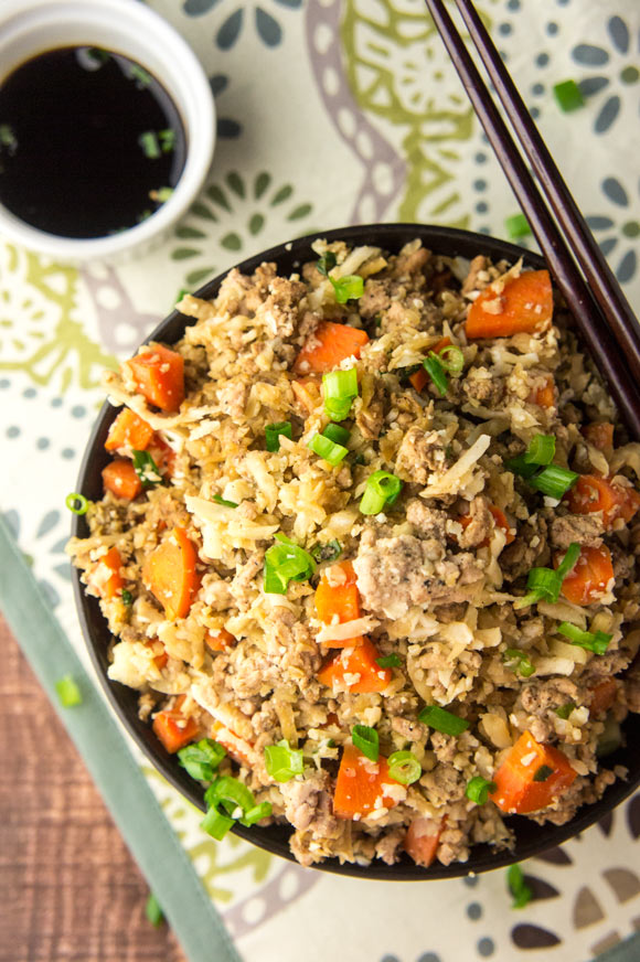 "Cauliflower Pork Fried ""Rice"" + One-Pot Paleo Cookbook Review"