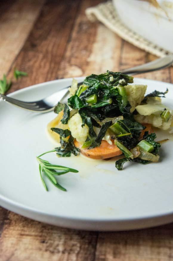 Kale, Cauliflower, Sweet Potato Au Gratin