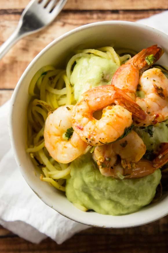 Sweet Potato Noodles Shrimp Avocado Cream Sauce Paleo