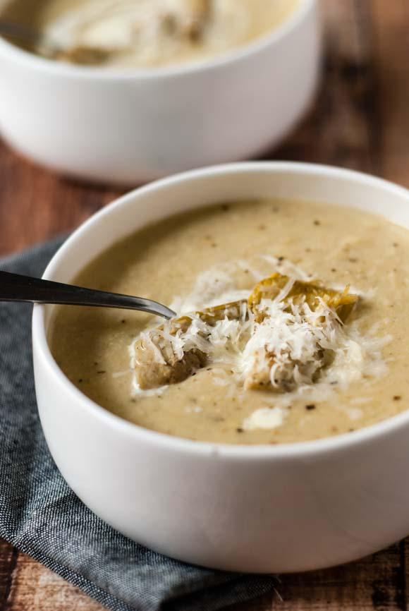 artichoke & provolone soup