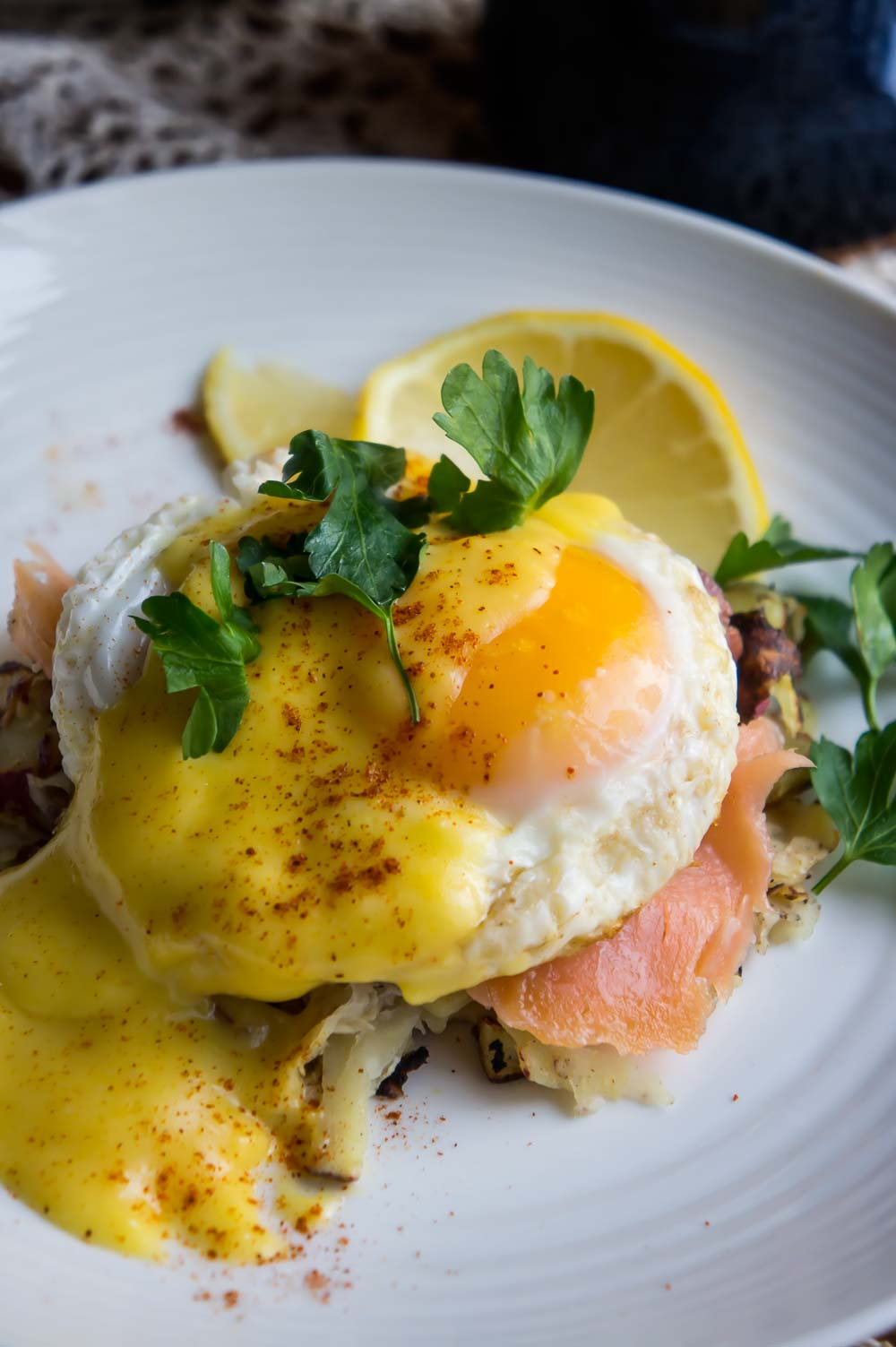 Eggs Benedict with Hash Browns and Lox