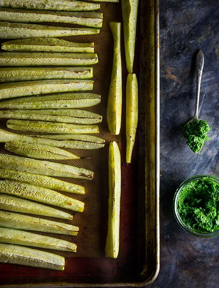 Broiled Zucchini with Chimichurri Sauce