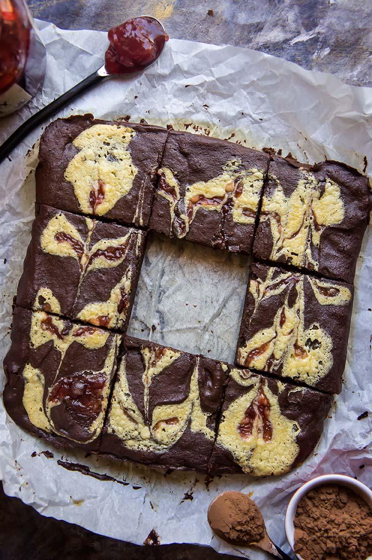 Grain-Free Strawberry Cheesecake Swirled Brownies