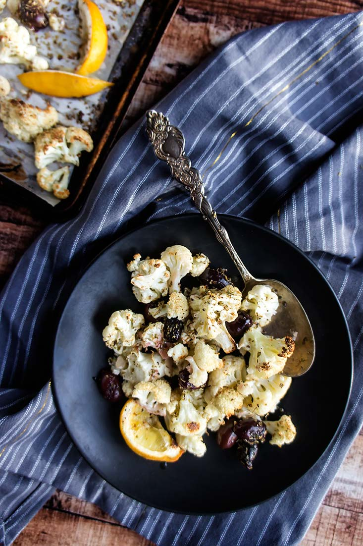 Roasted Cauliflower with Olives & Oregano