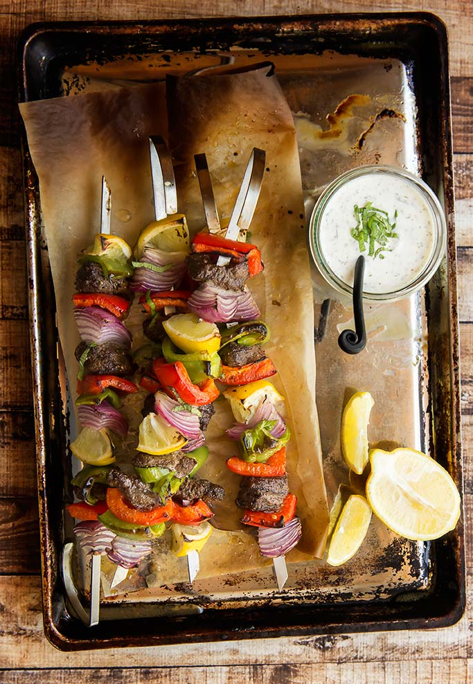 Moroccan Beef Kabobs with Mint Yogurt Sauce