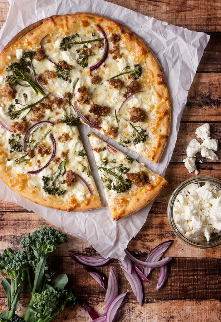 Broccolini & Sausage CauliPower Pizza