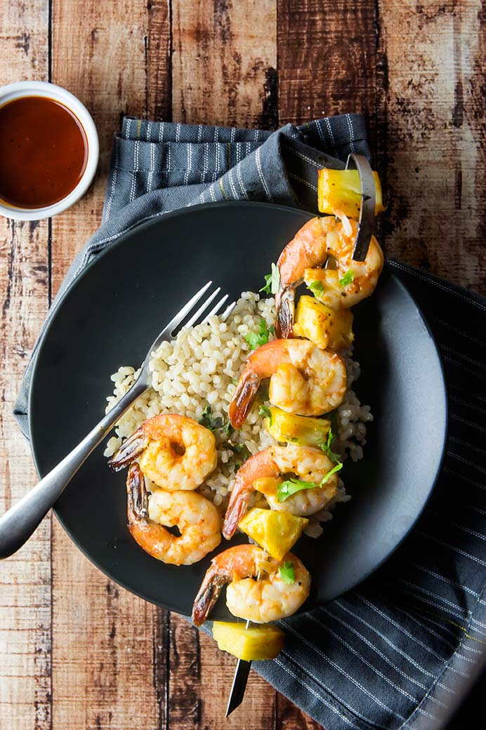 Spicy Barbecue Shrimp & Pineapple Skewers
