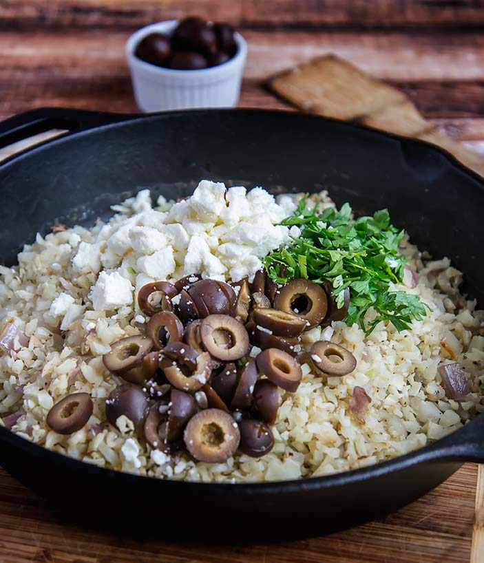 Toasted Cauliflower Rice with Feta and Olives