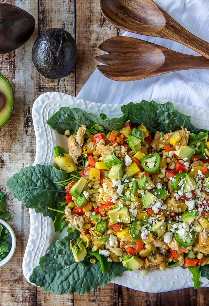 Roasted Corn & Chicken Salad with Avocado