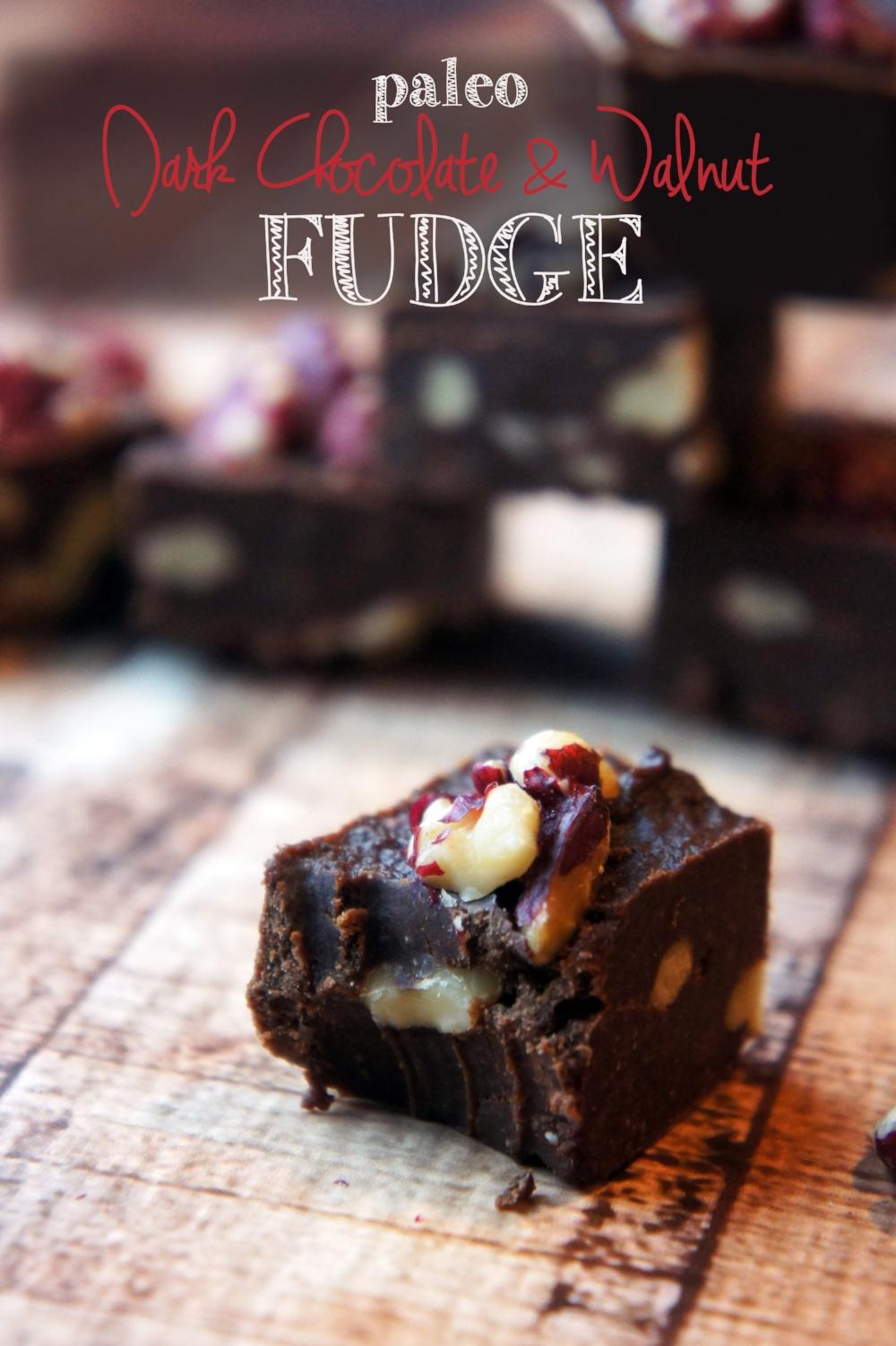 Dark Chocolate and Walnut Paleo Fudge