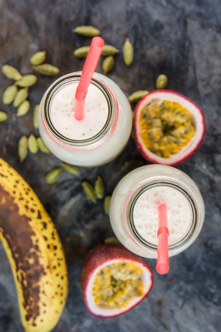Refreshing Banana Passion Fruit Lassi
