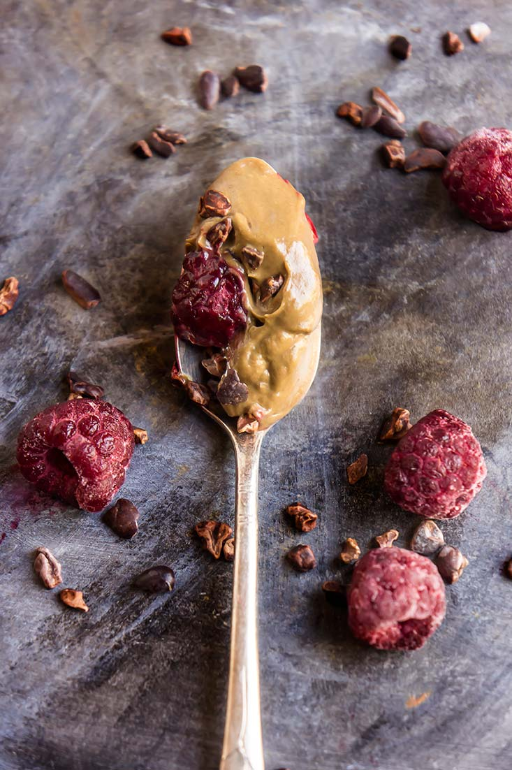 Chocolate Avocado Pudding with Cacao Nibs & Raspberries