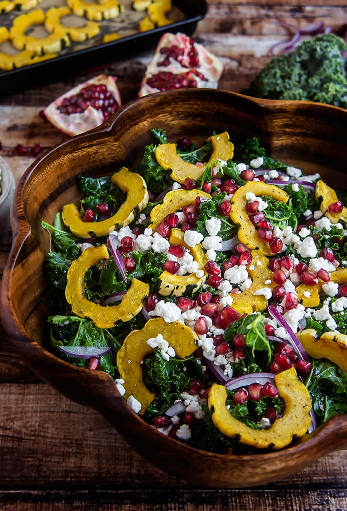 Massaged Kale Salad with Pomegranate & Delicata Squash