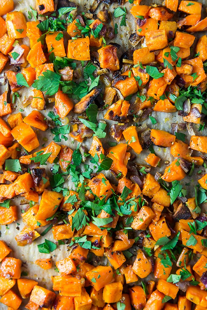 Caramelized Sweet Potatoes with Feta & Red Onion