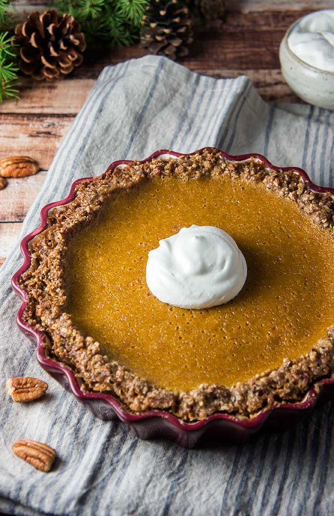Grain-Free Butternut Squash Pie with Pecan-Crumble Crust