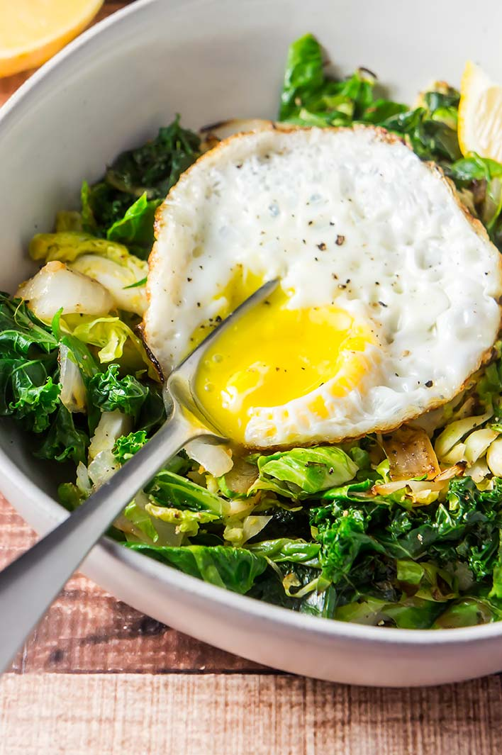 Lemon & Garlic Brussels Sprout Breakfast Bowl