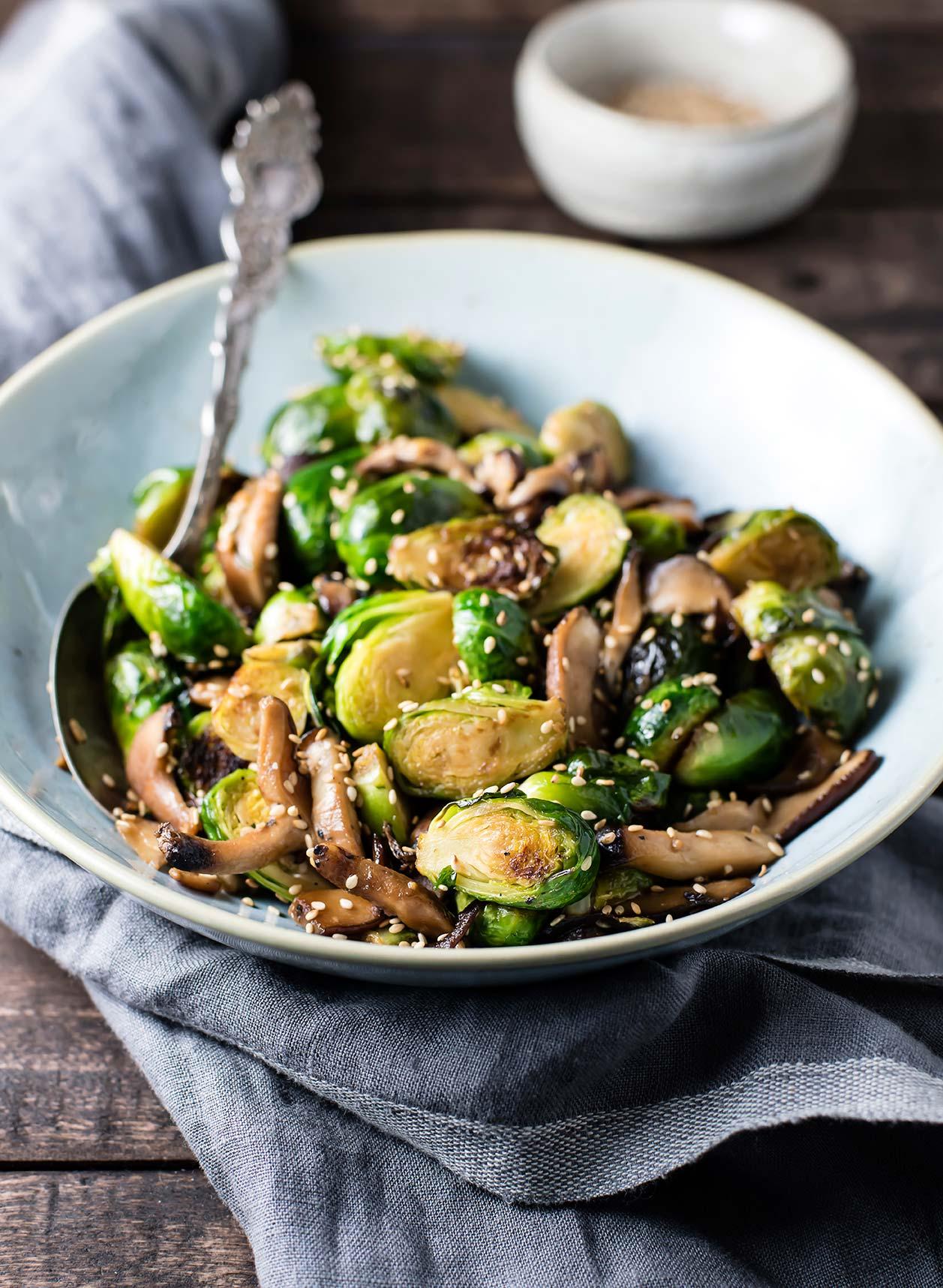 Brussels Sprout & Mushroom Sesame Stir Fry