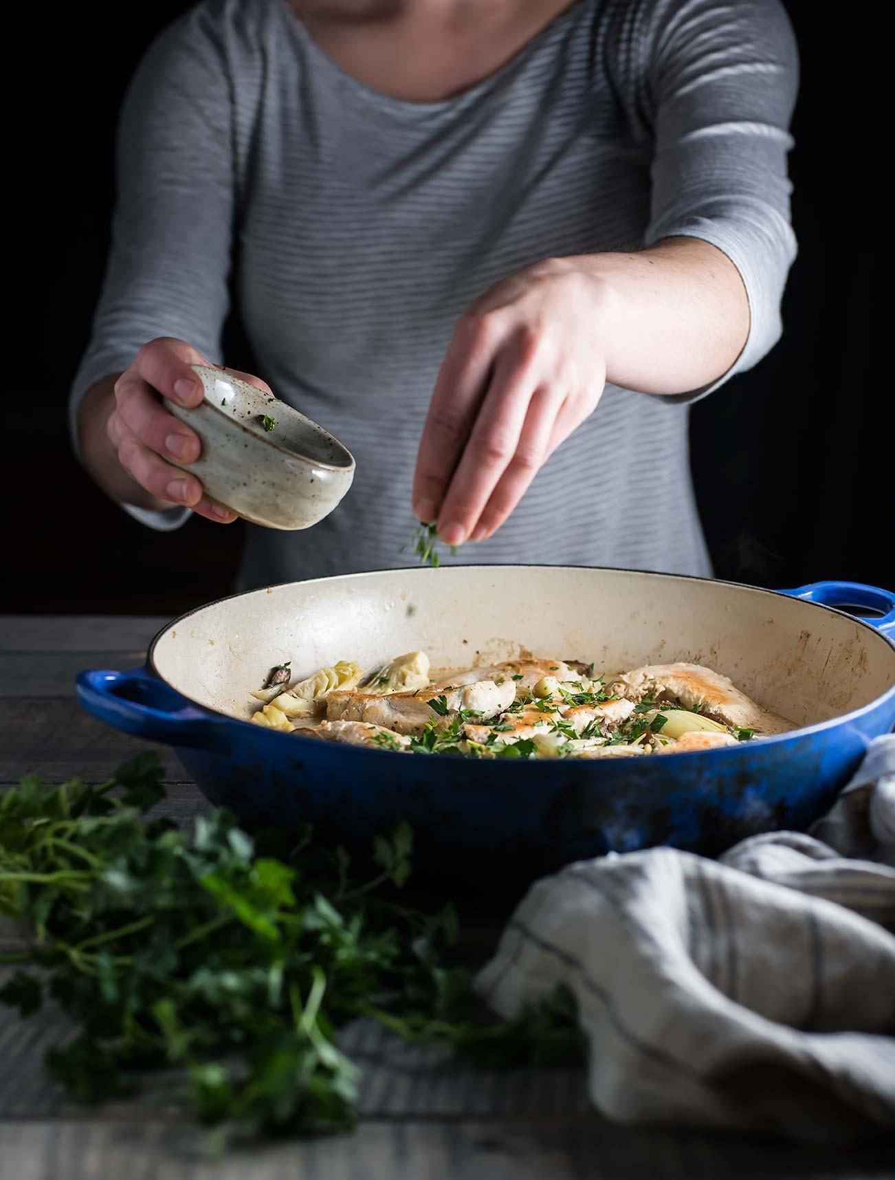 Mushroom & Artichoke Chicken Fricassee