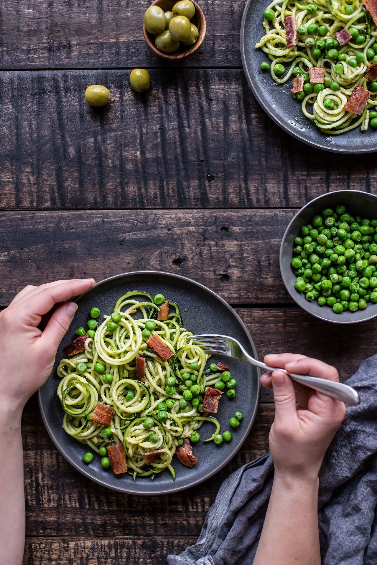 Pesto Zoodles with Fresh Peas & Bacon