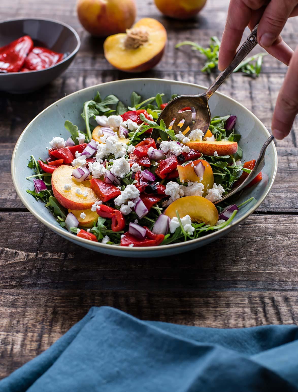 Arugula, Peach, Piquillo Pepper Salad