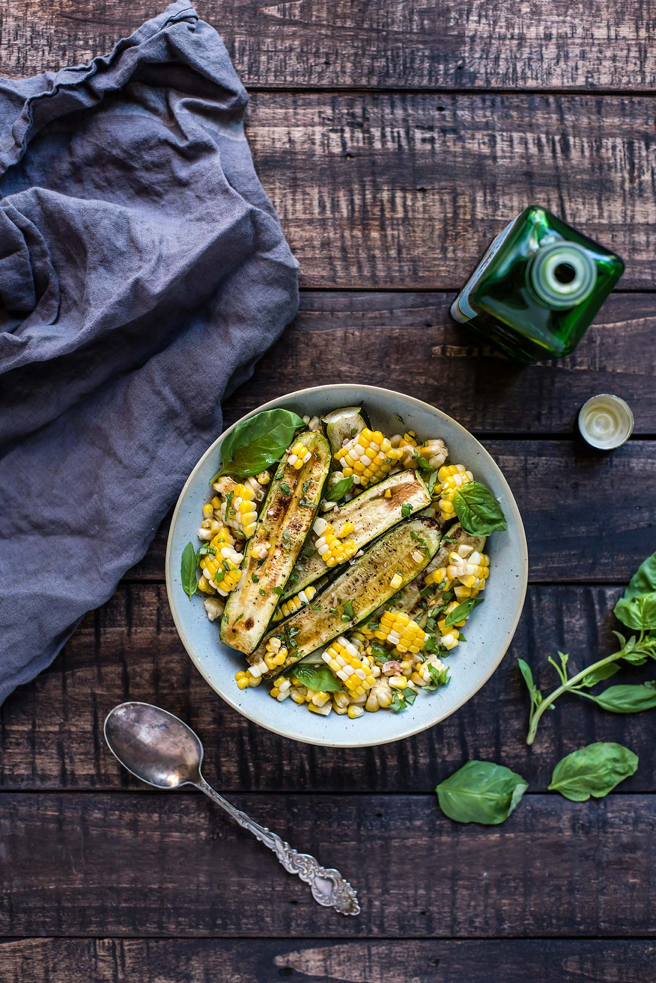 Roasted Zucchini, Corn & Basil Salad