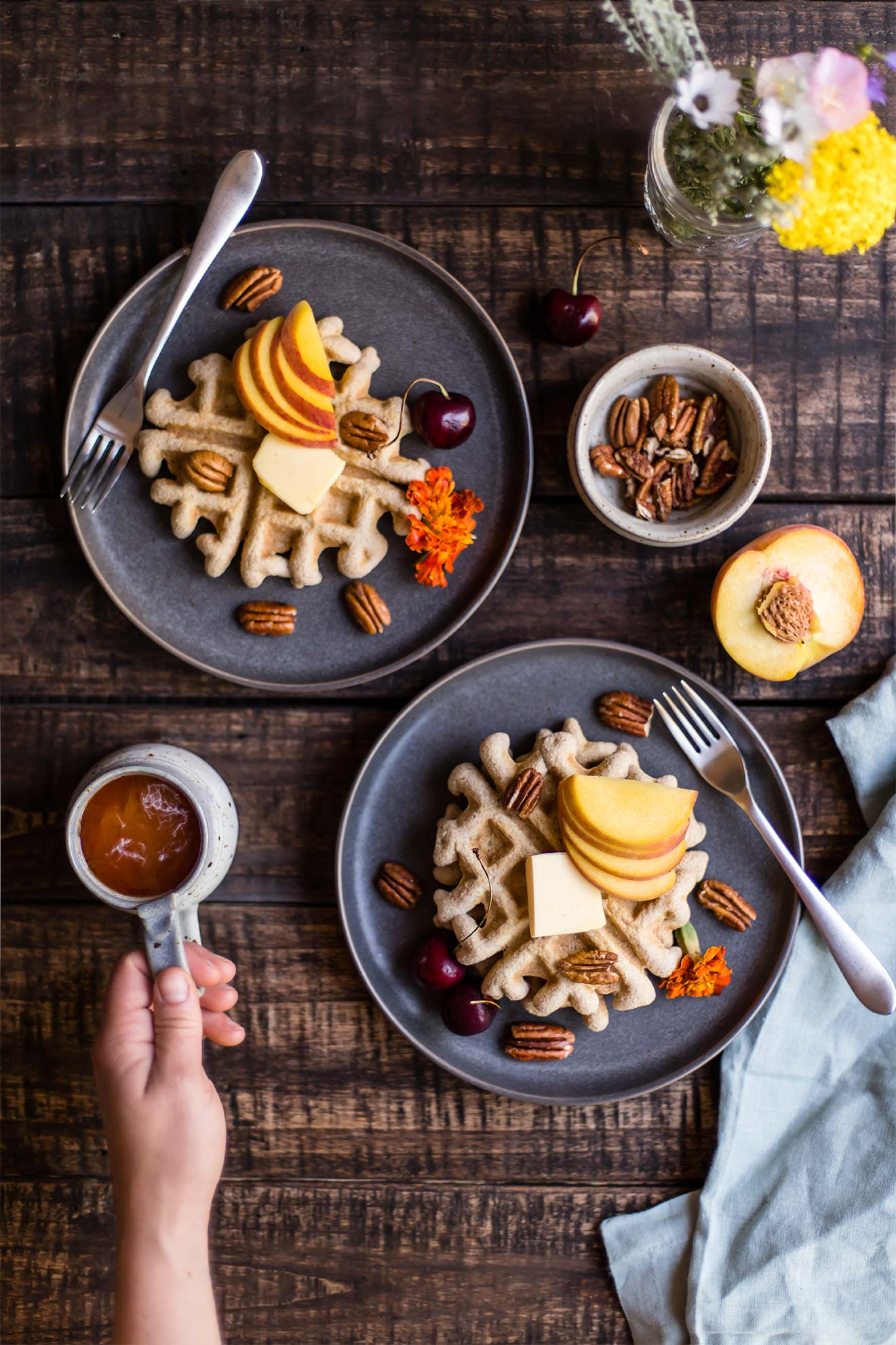 Coconut Flour Waffles with Peaches & Pecans