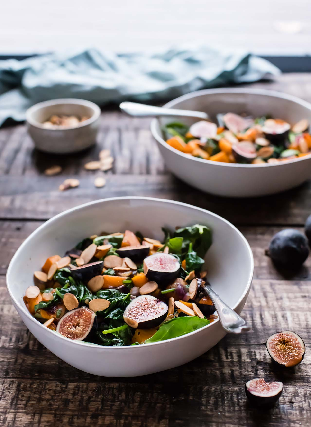 Warm Spinach Salad with Figs and Roasted Butternut Squash