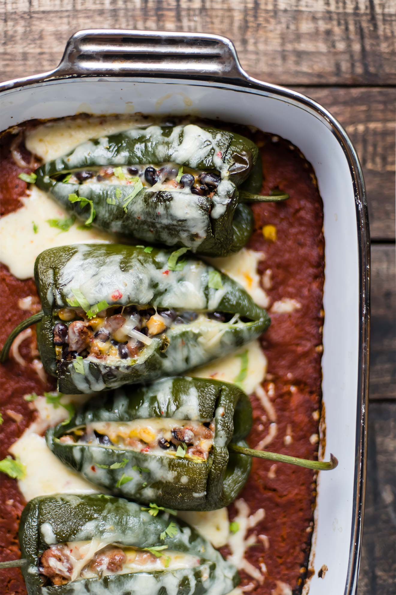 Chorizo, Black Bean + Corn Stuffed Poblano Peppers