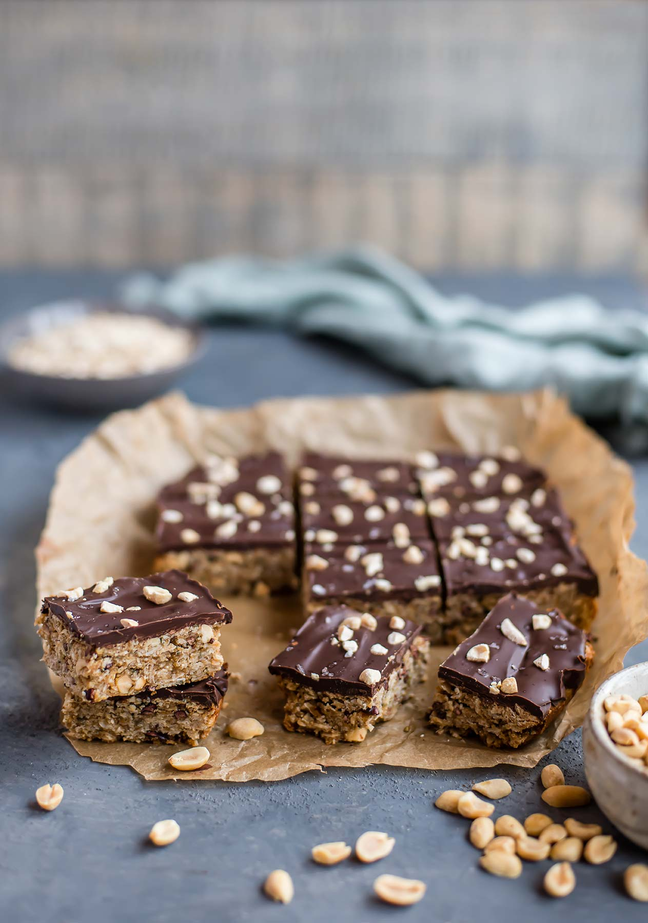 Peanut Butter Chocolate Oatmeal Bars with Hemp & Cacao Nibs