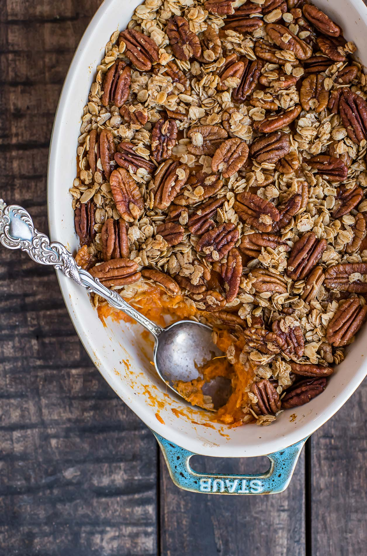 Lower Sugar Sweet Potato Casserole with Oatmeal Pecan Topping