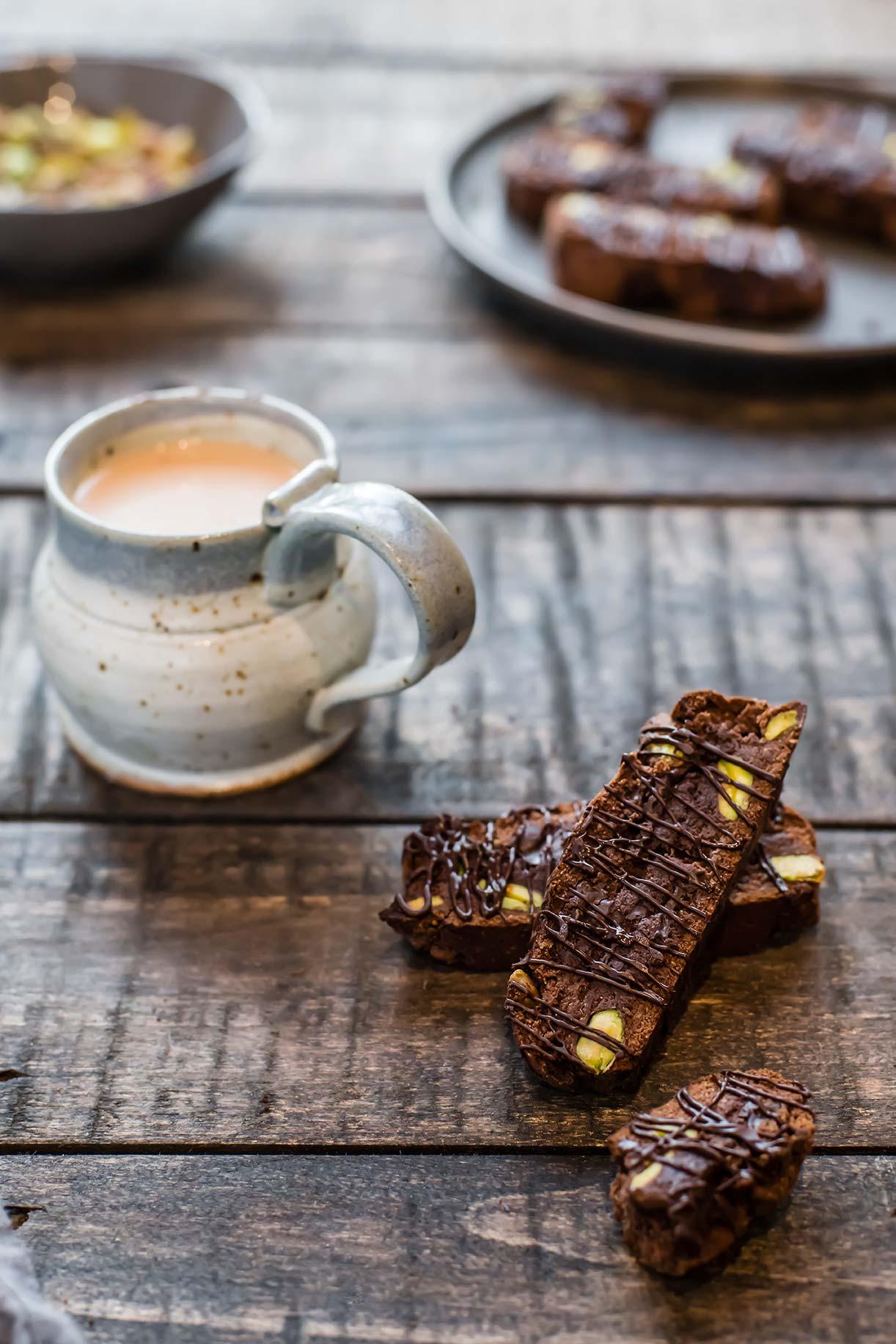 Paleo Double Chocolate Pistachio Biscotti