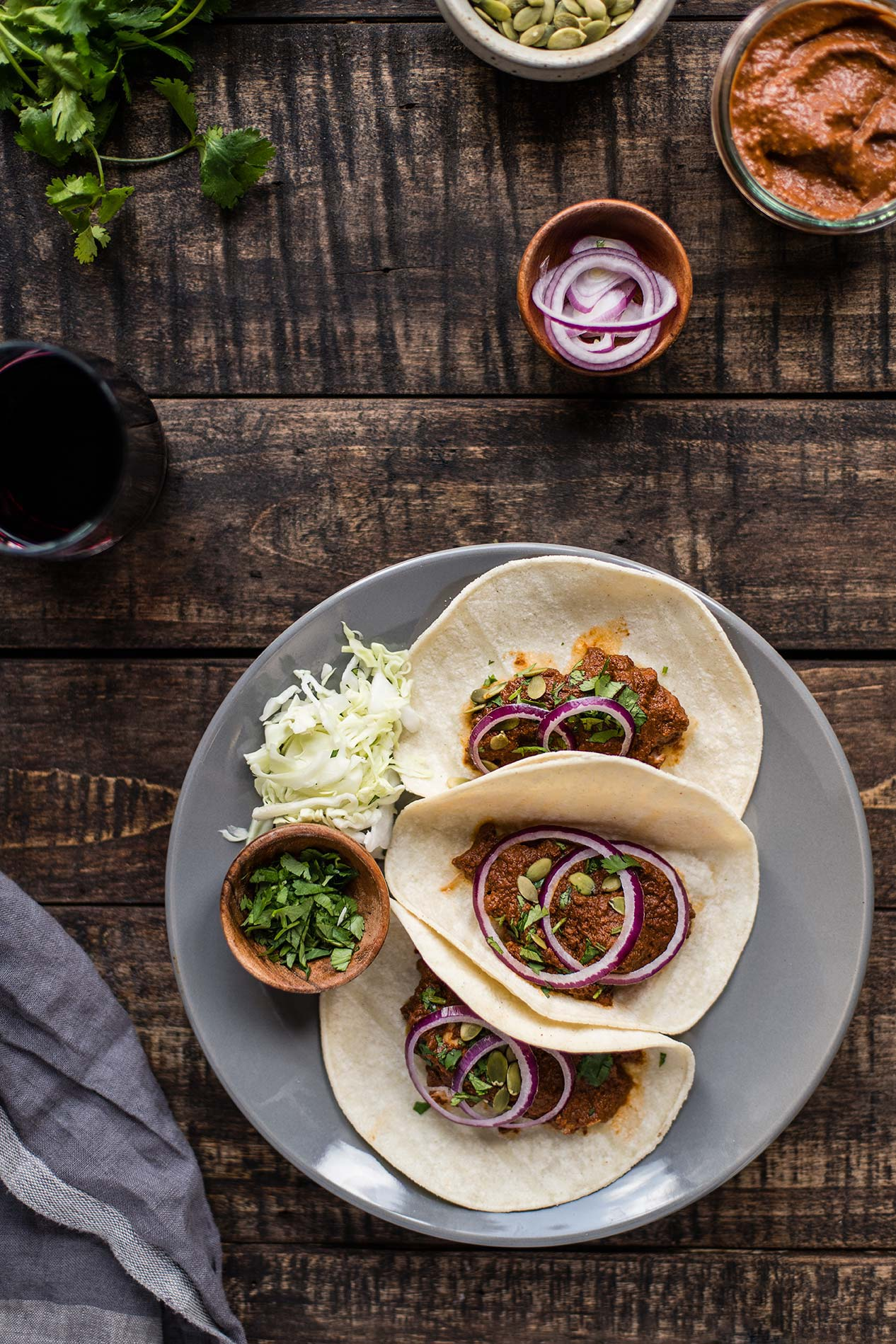 Slow Cooker Mole Chicken Tacos