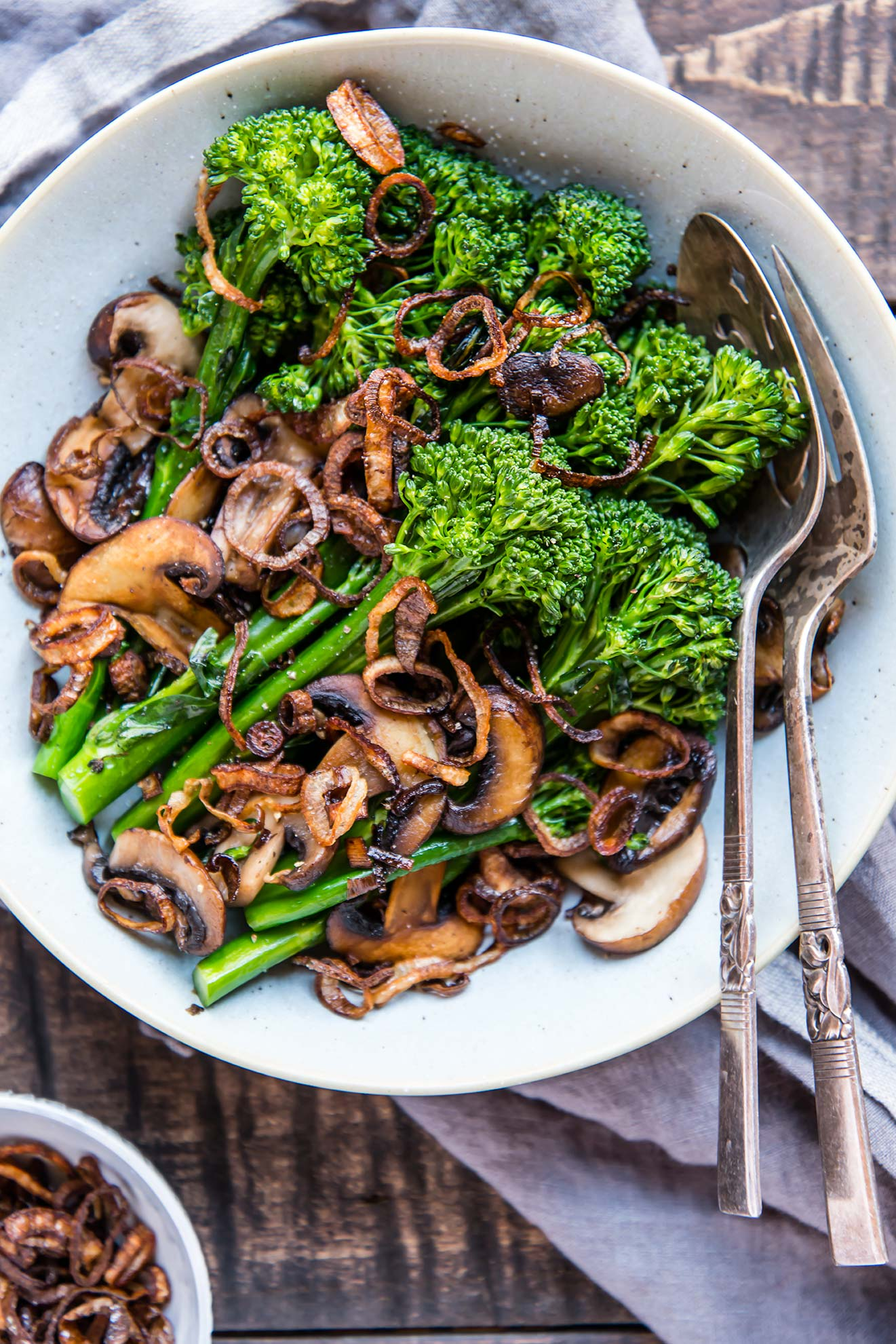 Broccolini & Mushrooms with Fried Shallots