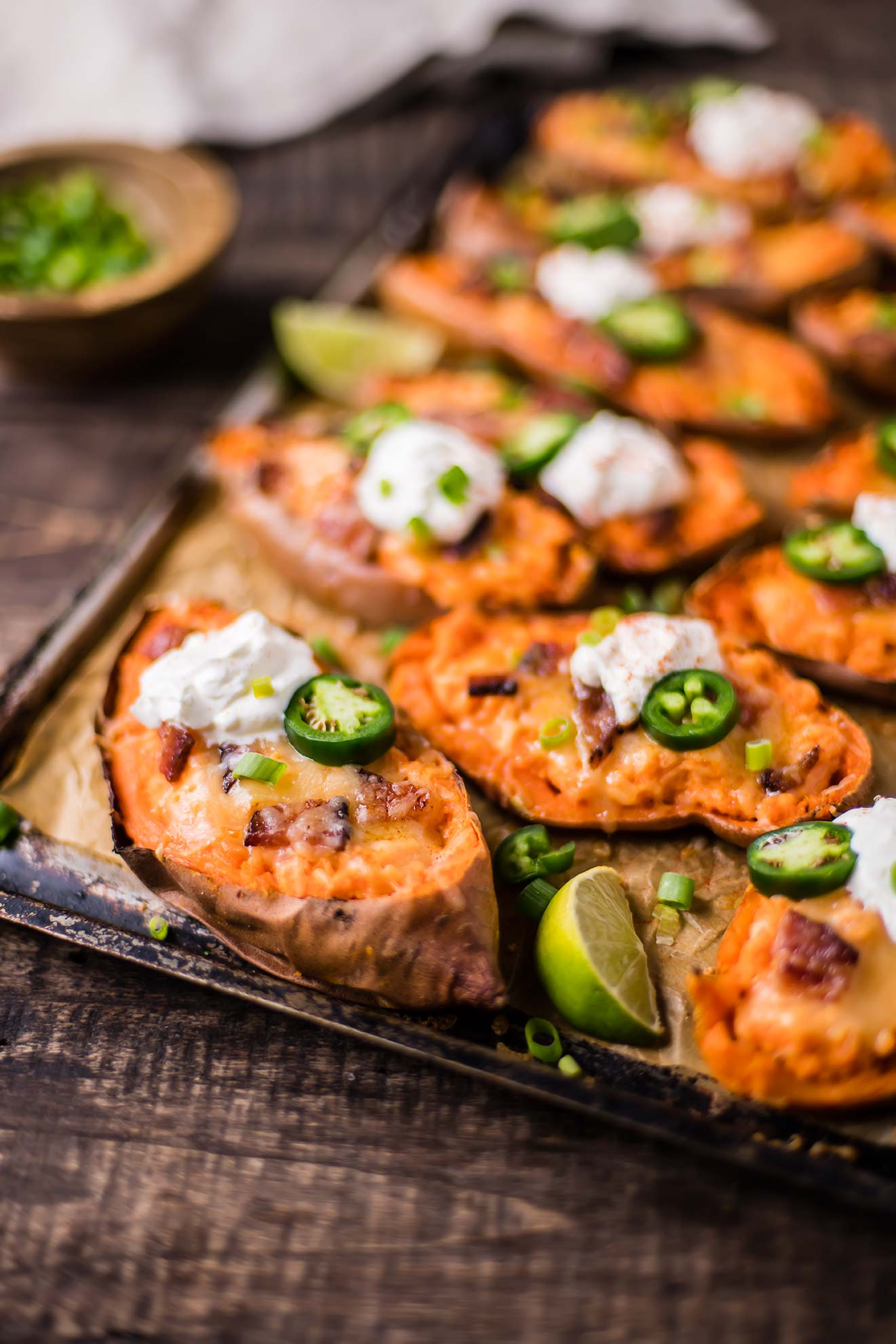 Cheesy Bacon Sweet Potato Skins