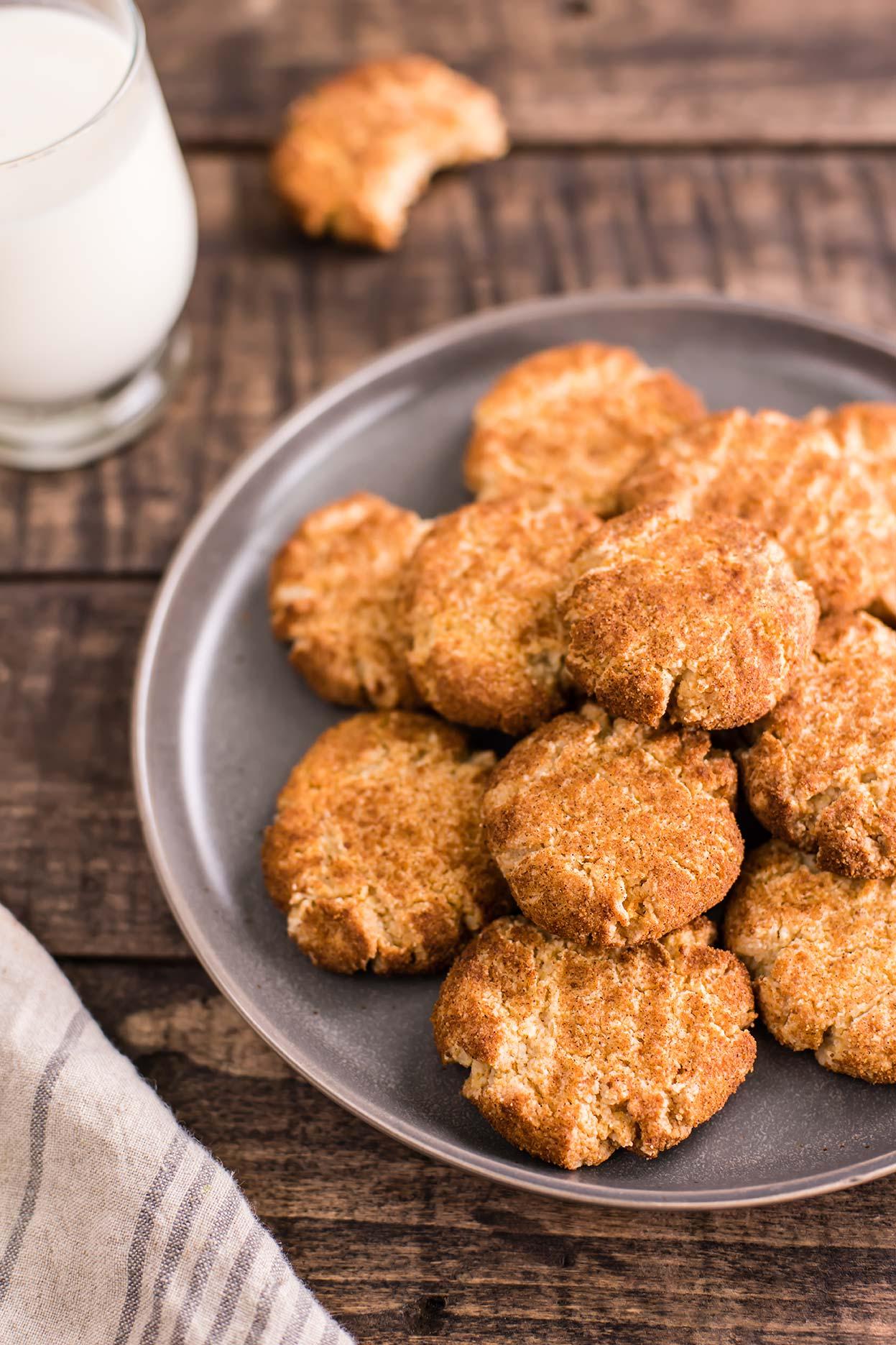 Paleo Almond Flour Snickerdoodle Cookies