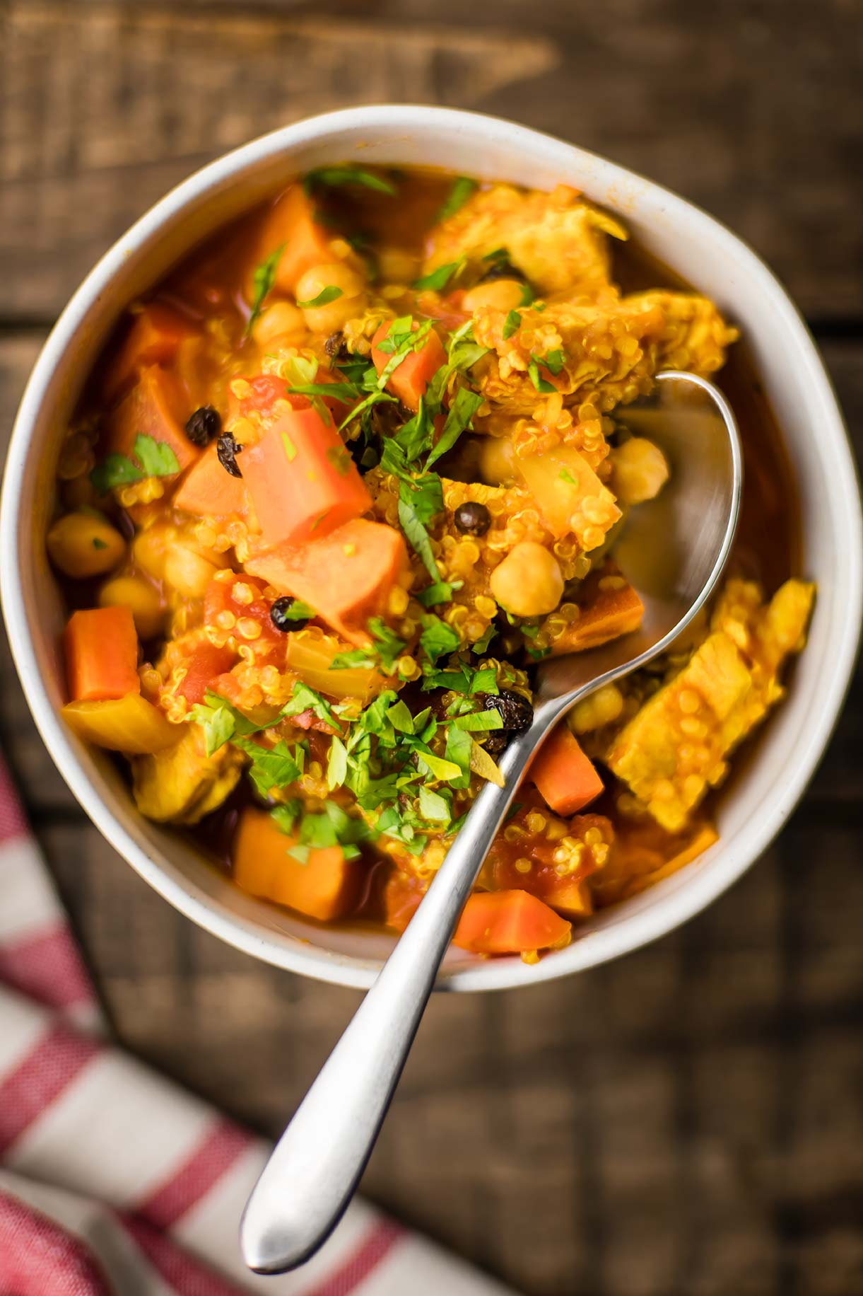 Instant Pot Moroccan Stew with Chicken, Quinoa, Chickpeas & Sweet Potato