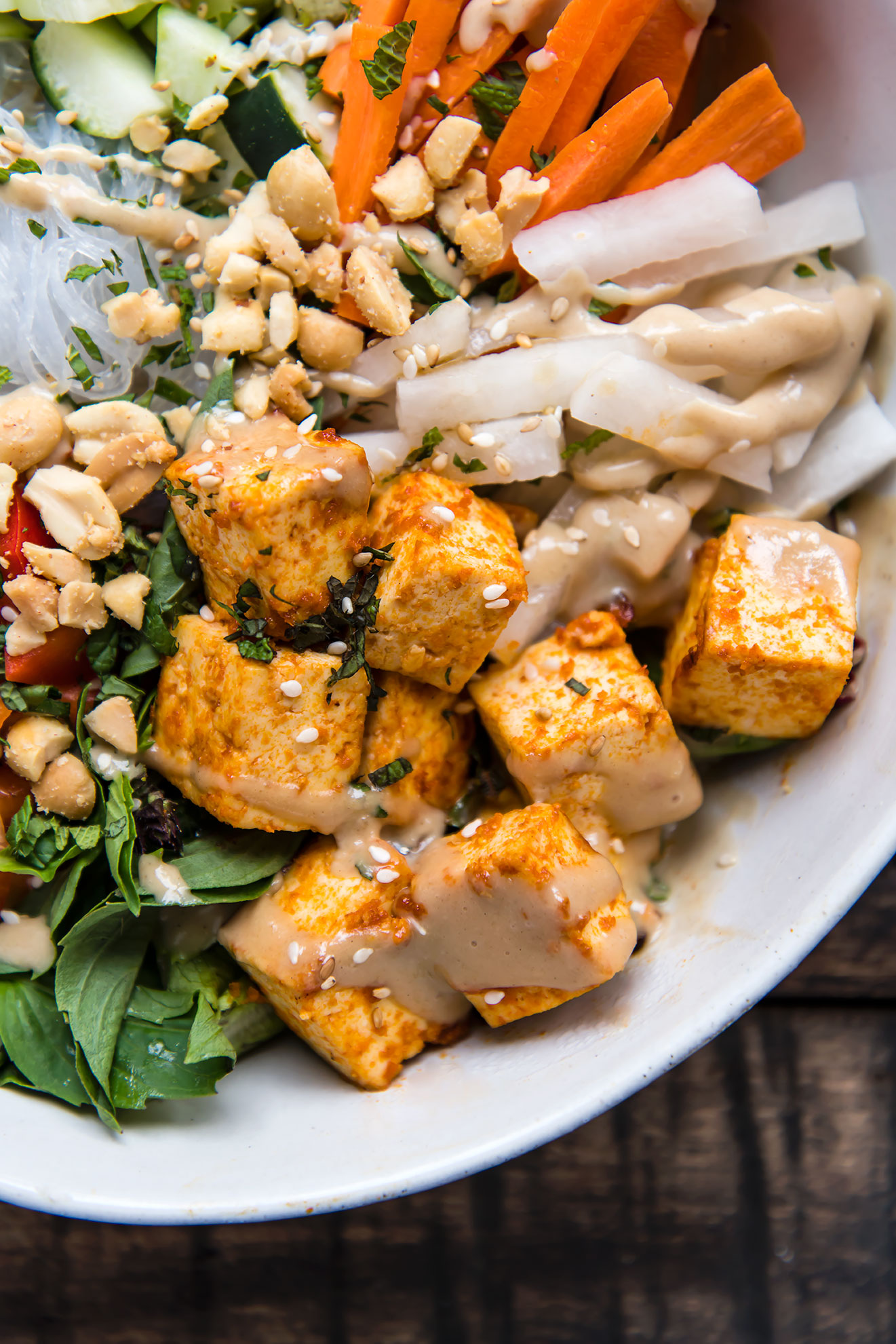 Cold Rice Noodle Bowls with Sriracha Tofu, Thai Basil & Tahini Sauce