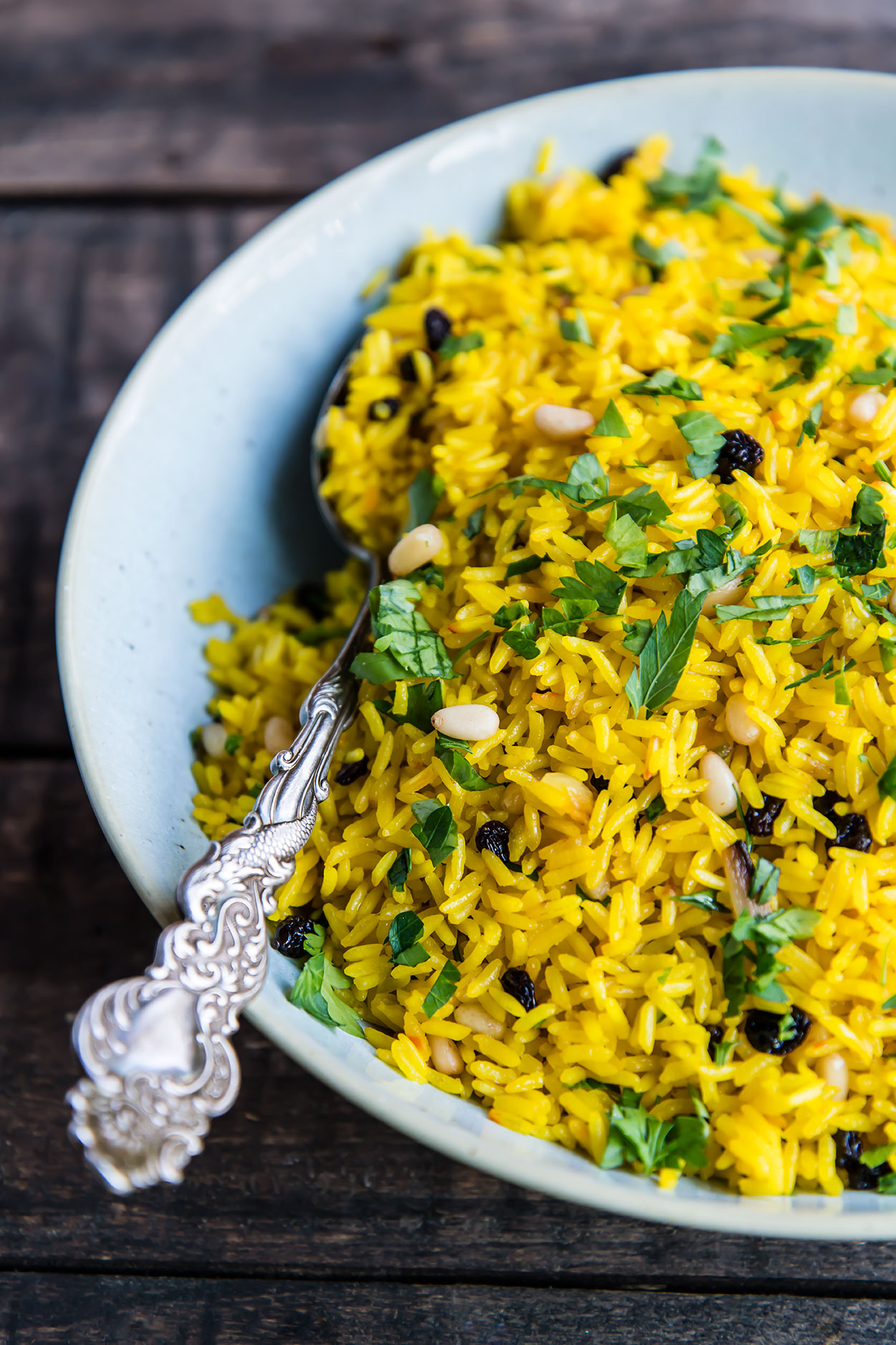 Instant Pot Saffron Rice With Currants And Pine Nuts Foraged Dish