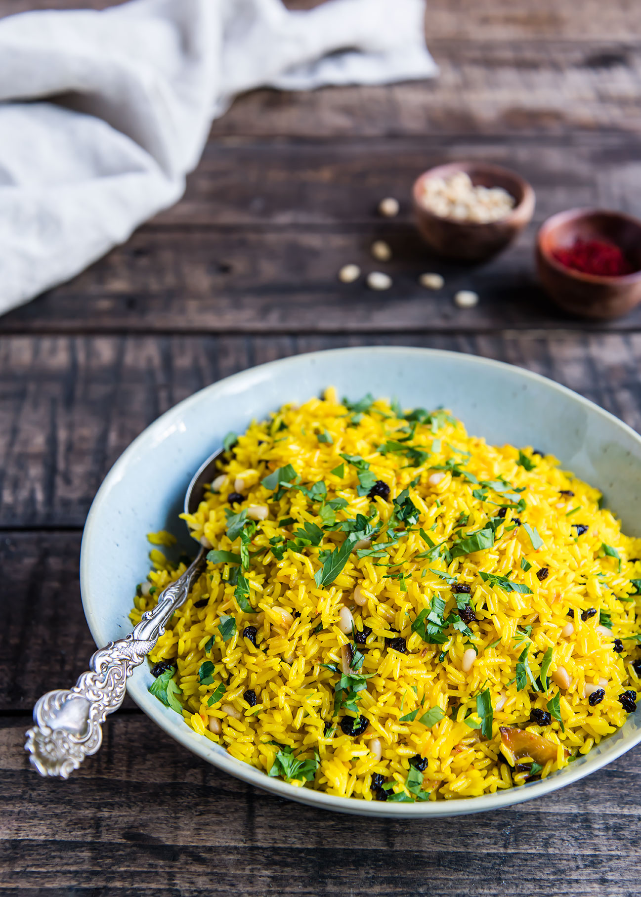 Instant Pot Saffron Rice with Currants and Pine Nuts