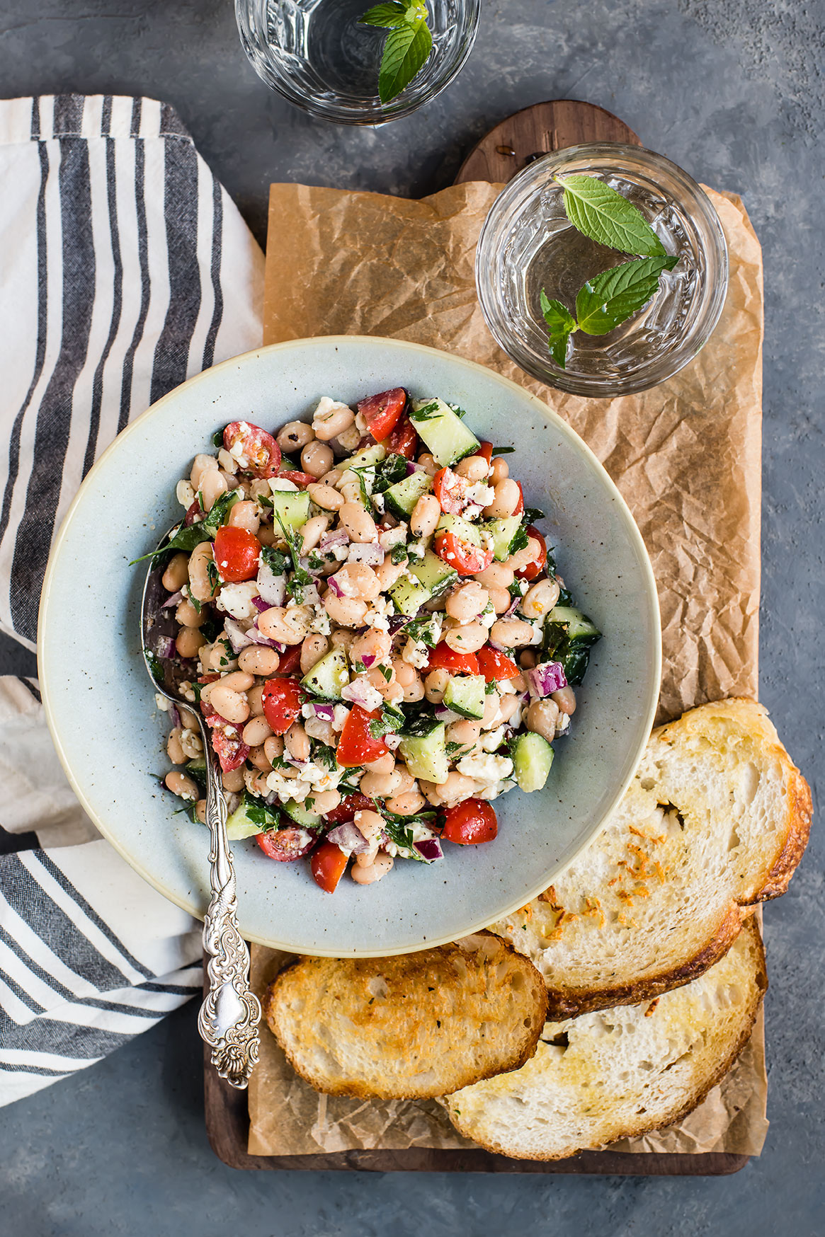 White Bean Salad with Fried Garlic Toasts