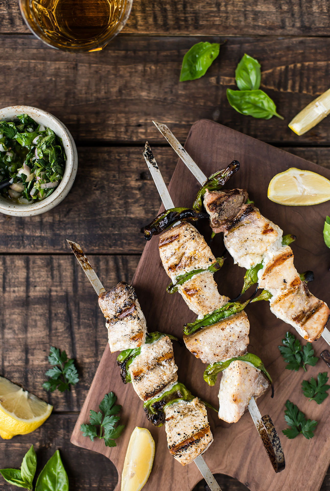 Grilled Swordfish with Fresh Herb Sauce & Shishito Peppers