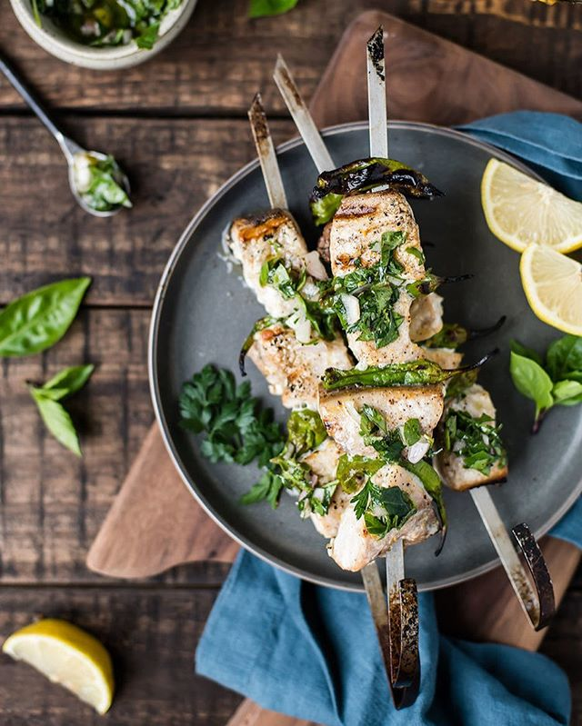 For the time of year when fresh herbs are in abundance! New recipe today: grilled swordfish and shishito pepper kabobs with fresh herb sauce. 🌱