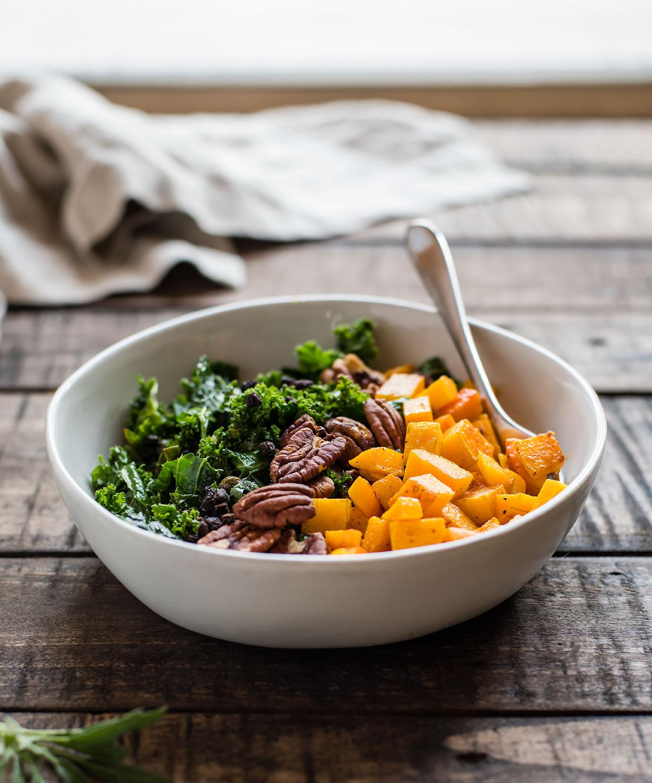 Kale Salad with Sage Roasted Butternut Squash
